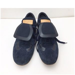 Louis Vuitton Mixed Suede Sneaker Shoes Navy Blue